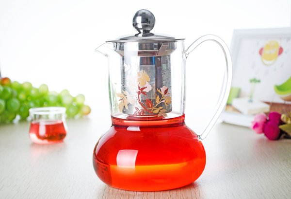 1PC 16.9fl.oz/500ml Heat Resistant Glass Tea pot w/Stainless steel Infuser & Lid Drop Shipping