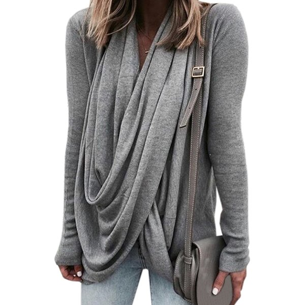Asymmetrical Loose Casual Pullovers Spring Winter Women Full Sleeve Tee Shirts Femme Fashion T-shirts Tops Plus Size Tshrt M0153