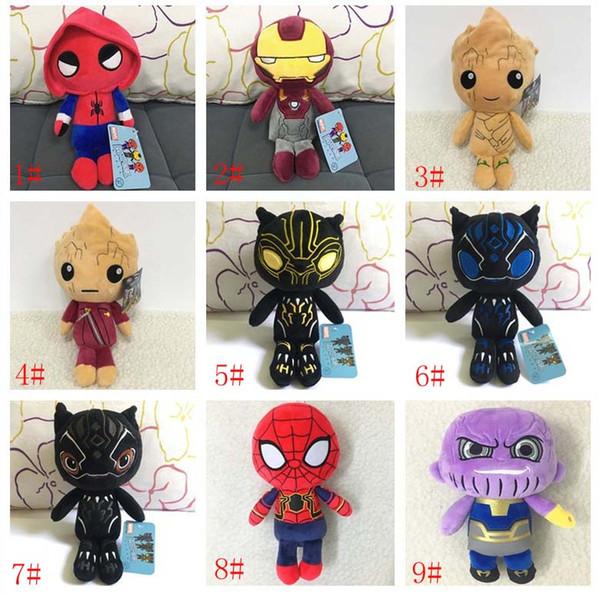 Yeni Karikatür Peluş Bebek 9 Stilleri Avengers 3 Infinity Savaş Peluş Bebekler Oyuncaklar 20 CM Thanos Lron Adam Örümcek Adam Deadpool Siyah Panter Bebekler Oyuncaklar