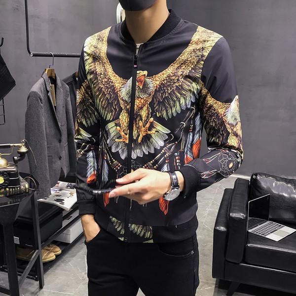 Baseball Jackets Mens Fashion Jackets Mens 2018 British Printed Bomber Jaqueta Masculina Slim Fit Pilot Winter Coats Men