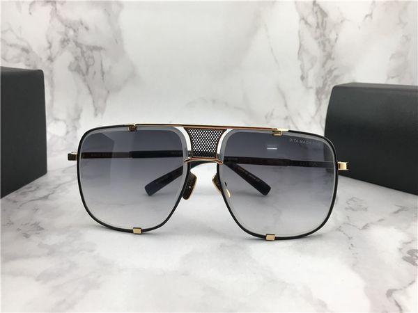 Mens Luxury Square Sunglasses Gold Black Frame Grey Gradient Designer Sunglasses Drive Sun glass Eyewear New with Box