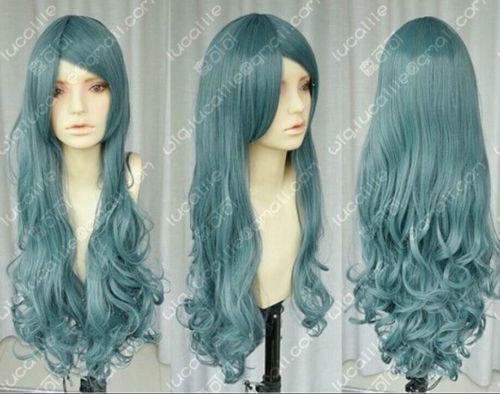 2014 Blue smoke gentle curls , bangs / cos wig