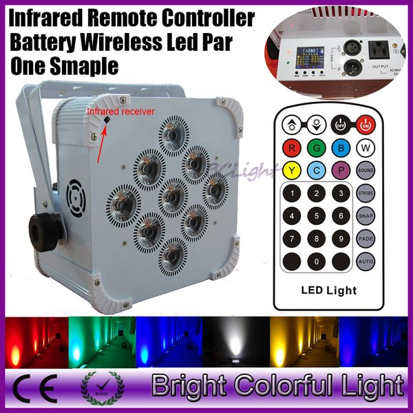 2018 The newest Infrared controller RGBWA UV 6 IN 1 Battery powered led wedding par light DMX Wireless dmx led stage uplights