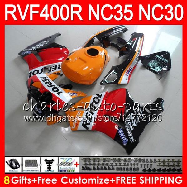 Repsol orange VFR400R For HONDA NC35 V4 RVF400R 1989 1990 1991 1992 1993 82HM73 RVF VFR 400 R NC30 VFR 400R VFR400 R 89 90 91 92 93 Fairings
