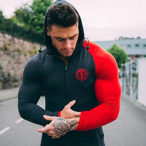 Hommes Coton Sweats À Capuche Sweat Automne Hiver Fitness Bodybuilding Maigre Sportswear Veste À Capuche Homme Vêtements de mode décontractée