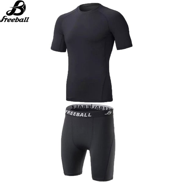 Compression Shorts Basketball&Football Training Suits Gym Fitness Clothes Men Sport T-shirt+Compression Shorts Running Kits