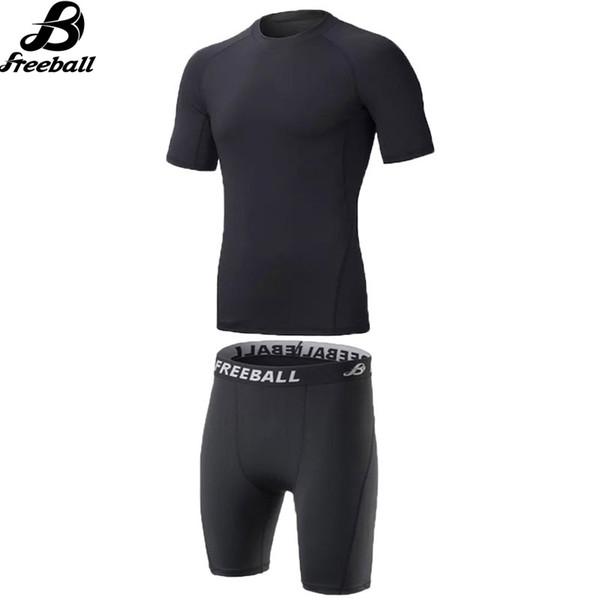 Pantalones cortos de compresión Baloncesto Trajes de entrenamiento de fútbol Gimnasio Ropa de fitness Hombre Camiseta deportiva + Pantalones cortos de compresión Kits de running