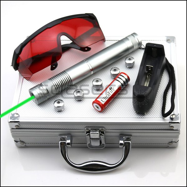 SDLasers GX4-0300 Adjustable Focus 532nm Green Laser Pointer With 1*18650 Li Battery & 5*Star Cap & Charger & Goggles and Aluminium Box