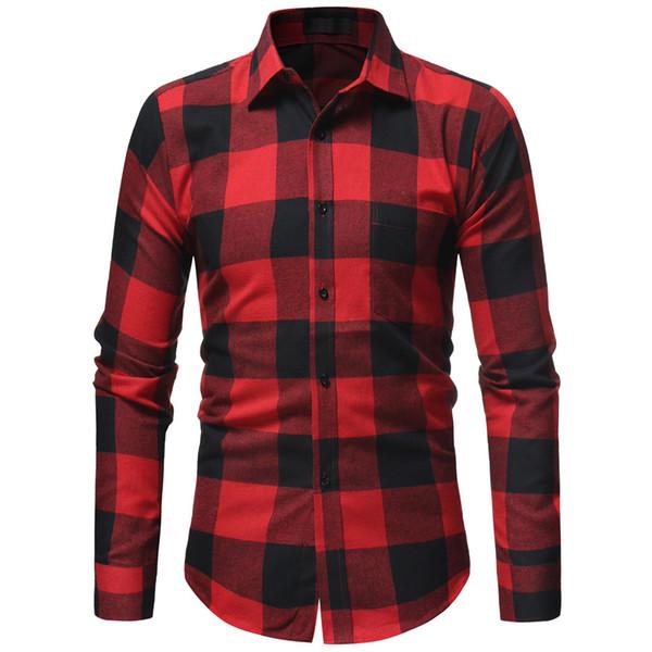 Brand 2018 Fashion Male Shirt Long-Sleeves Tops Classic Lattice Black Mens Dress Shirts Stand Collar Slim Men Shirt