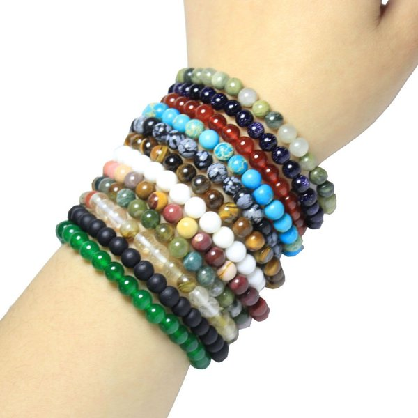 Wholesale 17 Type 6mm Round shape Natural Stone Bracelet Agat Lapis Turquoises Crystal Women Beaded Stretch Bracelet 19 cm