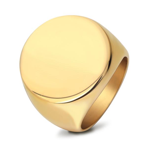 Tideway plaqué par or 24K d'or d'anneaux de hip-hop simple pour la taille 7 d'hommes