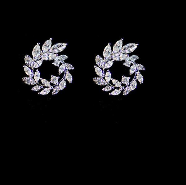 5358f12e55c 2018 Zircon Wedding Earrings 925 Sterling Silver Fashion Jewelry Cubic  Zirconia Silver Stud Earrings For Women Fashion Necklaces Jewelry Rings  From ...