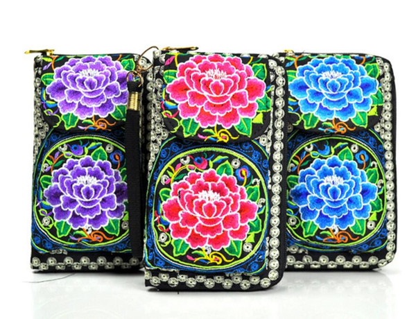 Women Clutch Wallet Long Card Holder Case Purse Handbag Bag Embroidered Handmade Wallet Coin Purse Handmade Embroidery Cell Phone Bag