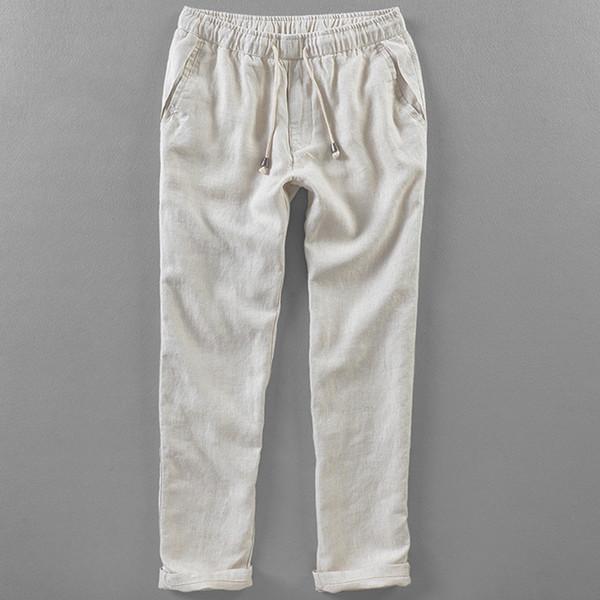 Helisopus-Männer Leinen gerade Hosen lose beiläufige in voller Länge exotische Hosen Jogginghose lange Hosen elastische Taille beiläufige