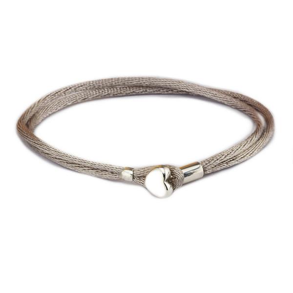 Compatible avec les bijoux européens gris vert cordon de tissu Bracelet 100% 925 bracelets en argent Sterling DIY en gros S18101507