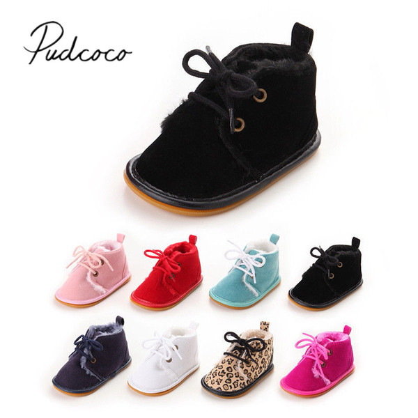 Newborn Casual Infant Boots Booties Boy Leopard 0-18M Snow Toddler Baby Warm Winter Walkers Fur Brand Shoes New First 2017 Girl
