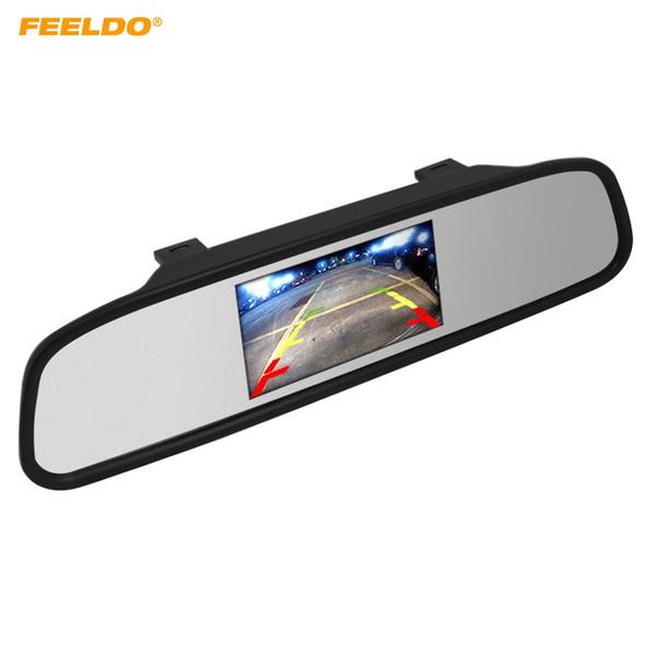 FEELDO 12 V / 24 V Aparcamiento para automóvil Vista posterior 4.3 pulgadas LCD TFT Espejo Monitor con 2 entradas de video para cámara de visión trasera DVD / VCD Video # 4619