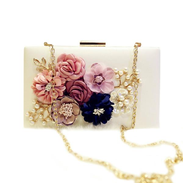 Nouvelle Arrivée 2019 Handwork Fleur Perle Mariée Sacs Mode Femmes Clutch Bags dames Parti Chaîne Petite Épaule Sac Bandoulière