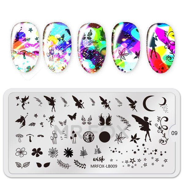 Angel Theme Rec Nail Art Stamp Template Image Plate Animal Pattern Nail Stamping Plate with White Pad