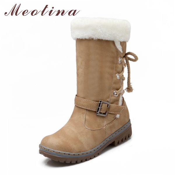 Meotina Winter Women Boots Mid Heels Women Snow Boots Fur Ladies Mid Calf Buckle 2018 Shoes Size 34-43 Brown Beige