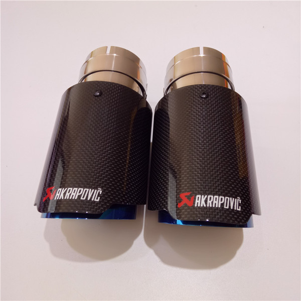 Free Shipping 2PCS Akrapovic Car Bright Carbon Fiber Exhaust End Pipes Single Muffler Tips For Universal Exhaust Tail Pipes
