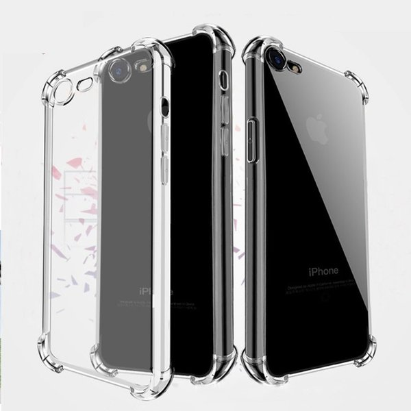 For iPhone XS Max XR Transparent Phone Case Four Air Bag Against Falling Silicone Protective Cover For iPhone X 6 7 8 Plus