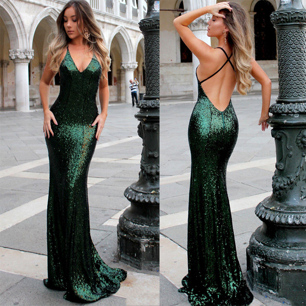 Bling bling Sequins Mermaid Prom Dresses 2018 Sexy V Neck Backless Dark Green Evening Dresses Sweep Train Cheap Prom Party Gowns Custom Made