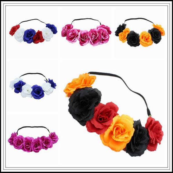 6 Farben Rose Haarband Kranz Haarbögen Böhmen Handgemachte artificialseaside Blume Hairband Crown Hochzeit Party Favor CCA10293 300 stücke