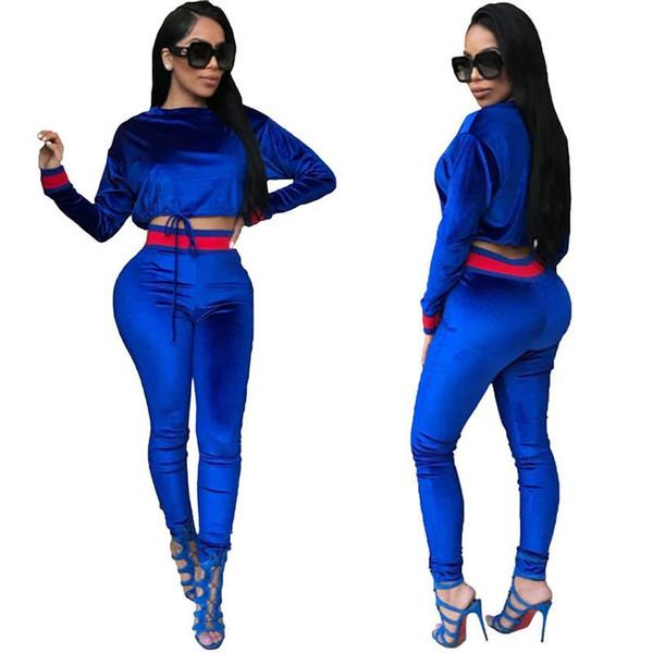 2018 nouvelle mode bleu costume costume couleur unie femmes survêtements printemps et en automne dames survêtement chemise à manches longues + pantalons tenues de loisirs