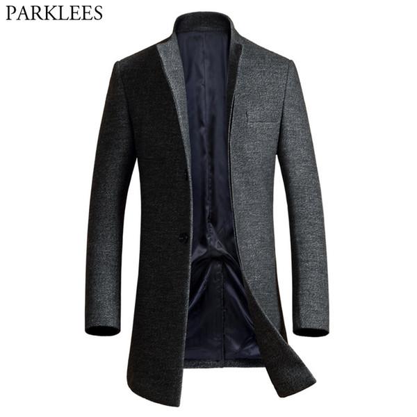 Мужская длинная шерсть пальто 2017 Зима мужчины куртка однобортный Мужские пальто повседневная Slim Fit шерстяной горох пальто Manteau Homme