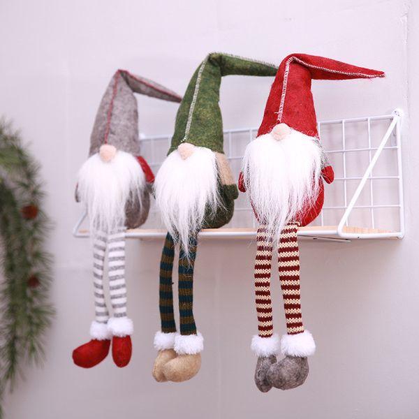Sitting Long -legged Fabric Faceless Doll Christmas Plush Toy 50*11cm Elves Bottle Decoration Xmas Long Beard Dolls New Year Party Gifts New