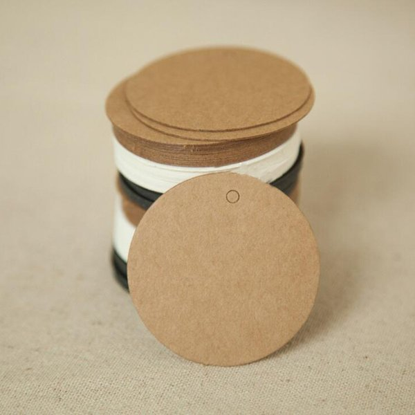100Pcs DIY Round Head Label Luggage Kraft Paper Tags Brown Wedding Note Blank Price Tag Hang Tag Kraft Gift 5x5cm