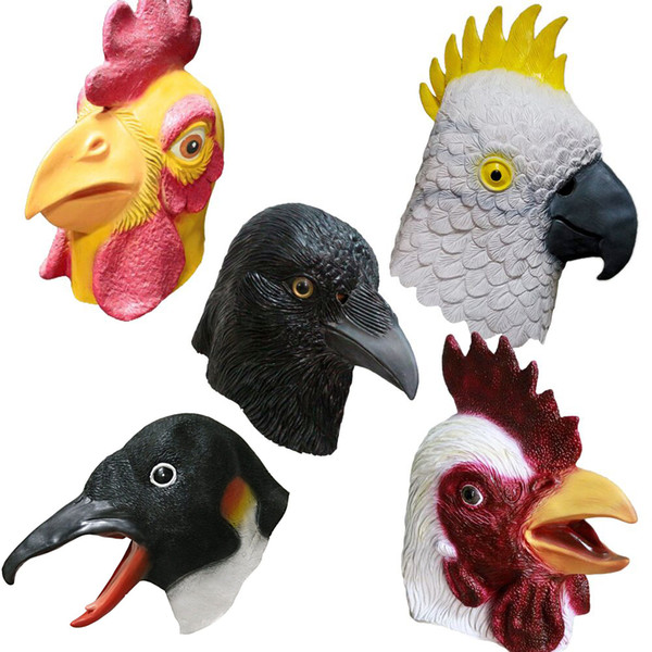 Latex Chicken Parrot Head Mask Party Cosplay Costume Halloween Carnival Fancy Dress Theater Prop