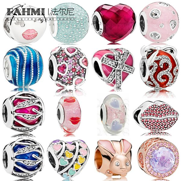 FAHMI 100% 925 Sterling Silver 1:1 Charm ROSE LAVENDER RADIANT Radiance Gift Magenta & CZ BRIGHT ORNAMENT EXPLOSION OF LOVE SHAPE