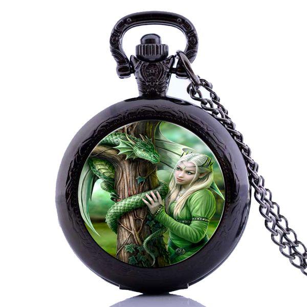 Venta al por mayor Hot Antique Punk Dragon Queen para hombre para mujer para niños de cuarzo reloj de bolsillo collar colgante de cadena regalos relogio masculino