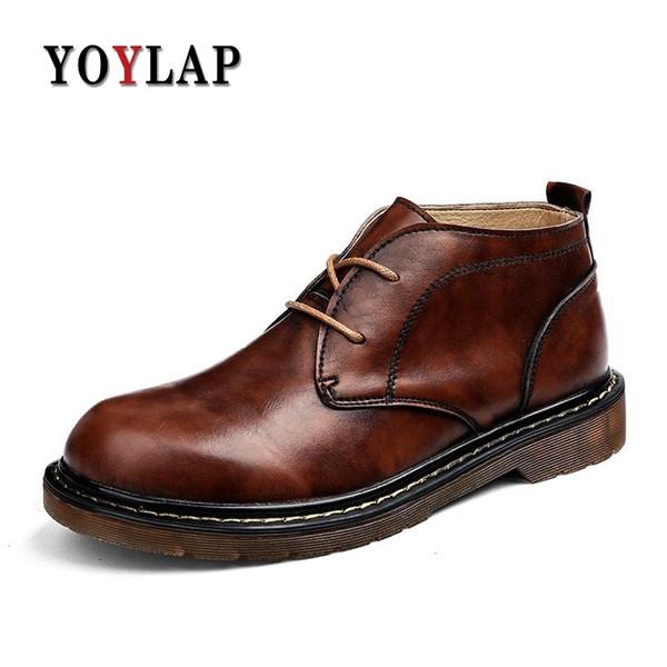 Vintage tobillo cuero genuino hombres botas s primavera otoño botas hombres negro marrón con cordones zapatos de trabajo Bota Masculina