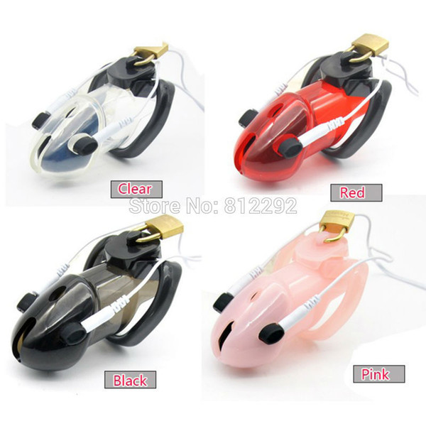 Electro Lockdown Estim Male Chastity Cage Adult Sex Play Penis Lock Electro Shock Cock Cage Sex Toys for Men 4 Colors to choose Y18110302