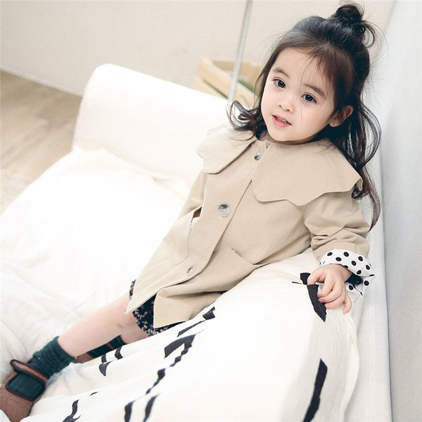 New Korean 2018 Spring Autumn Baby Coat Khaki Flower Neck Fashion Cotton Toddler Girls Princess Solid Jacket Long Outwear