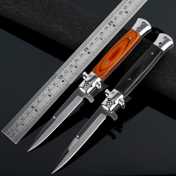 best selling The Tactical Folding Pocket Knife Quick Release Camping Knife With Straight Blade , Spear Point , Wood Handle. Outdoor Survival Gear