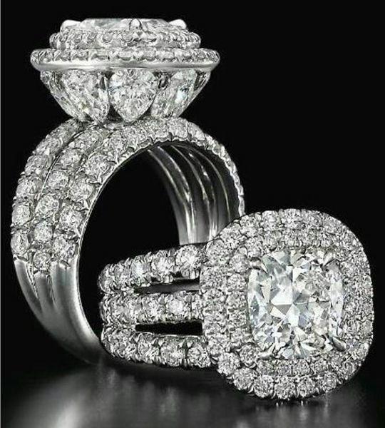 فيكتوريا wieck مذهلة المجوهرات الفاخرة خواتم زوجين 925 فضة الكمثرى قص الياقوت الزمرد متعدد الأحجار الكريمة الزفاف خاتم الزفاف مجموعة