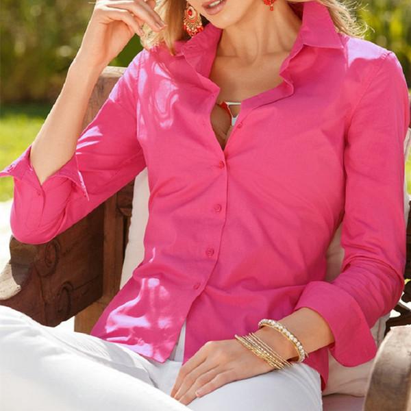 Venta caliente de Las Mujeres Blusas Nueva Moda Camisa de Las Mujeres Señora Tops Rosa Blanca de Manga Larga Top Plus Size Blusa Casual Ropa Femenina