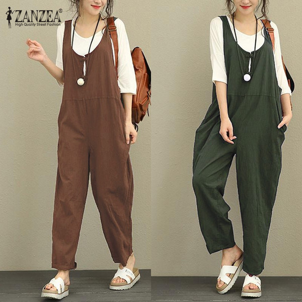 ZANZEA Women Long Pants 2018 Autumn Vintage Cotton Linen Sleeveless Backless Overalls Strapless Pantalon Palazzo Female Pants