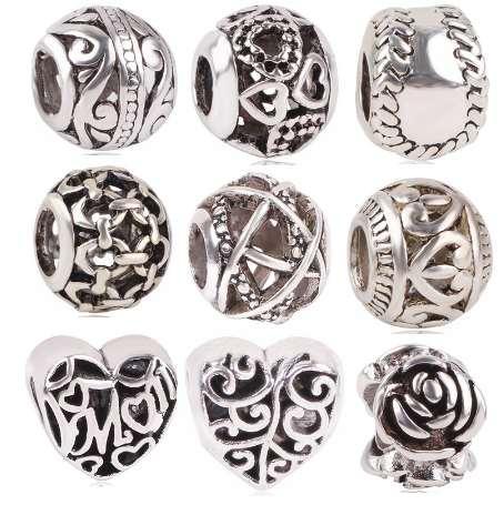 dodocharms новый античный серебряный цвет софтбол Роза любовь полые мама шарик Шарм для европейских Pandora Шарм браслеты