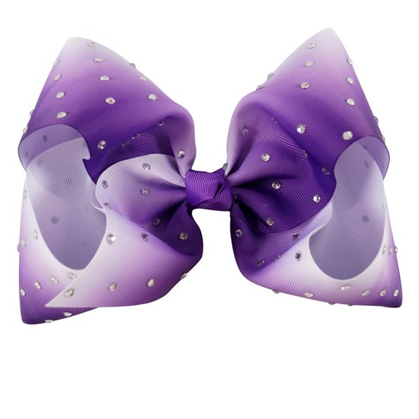 HOT 6inch Large Ombre Full Rhinestone Hair Bow With Clip Girl Dance HairPin Boutique Hair Accessories For Kids 10PCS/