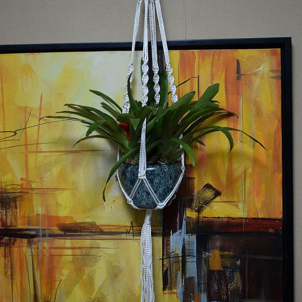 Handmade Woven Beads Plants Basket Jute Hanger Macrame Flower Pot Hanging Vintage Rope Wall Art Balcony Garden Decoration