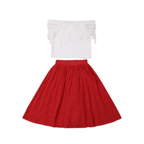 Baby Girls Outfits Toddler Princess Clothes Lace Off Shoulder Clothes Sets Tops T-shirt Tutu Skirt 2PCS Cotton Summer Girl