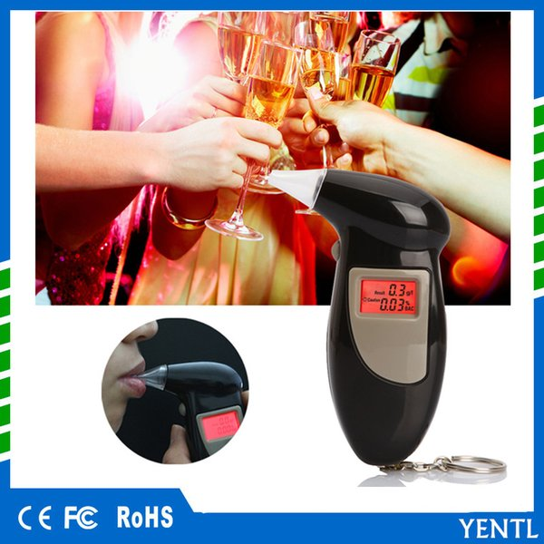 YENTL Free Shipping car Police Alcohol Tester Backlight display Alcohol Breath Analyzer Digital Breathalyzer with 5 mouthpiece Drop Shipping