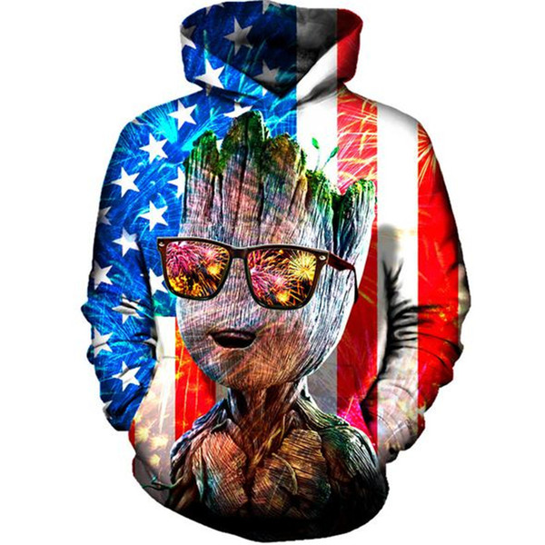 Новейшая мода американский флаг 3d печати толстовки мода одежда женщины / мужчины толстовка толстовки повседневная пуловеры K127