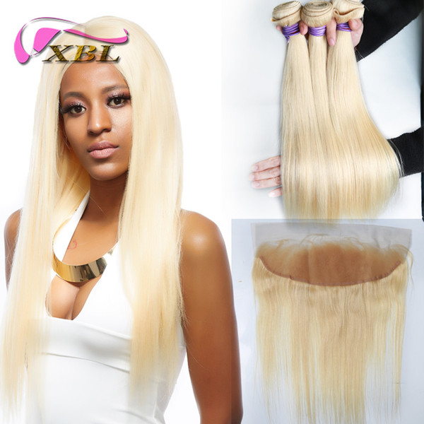 xblhair пучки светлых человеческих волос 3 пучка 613 # наращивание человеческих волос и одно кружево от уха до уха