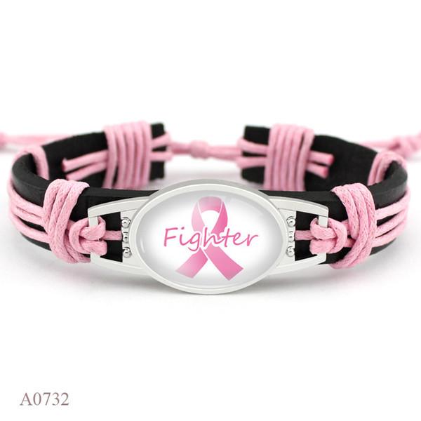 Pink Breast Cancer Fighter Hope Ribbon Awareness Bracelets